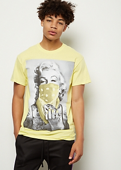 Yellow Marilyn Monroe Bandana Graphic Tee