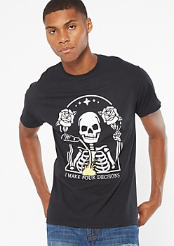 Black Skeleton Pour Decisions Graphic Tee
