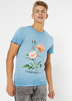 Blue Floral Unbroken Graphic Tee