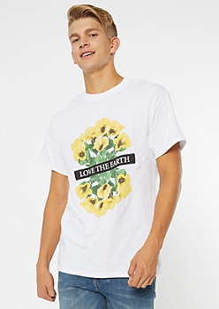 White Love The Earth Graphic Tee