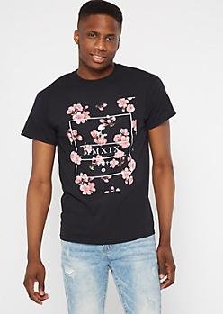 Black MMXIX Cherry Blossom Graphic Tee