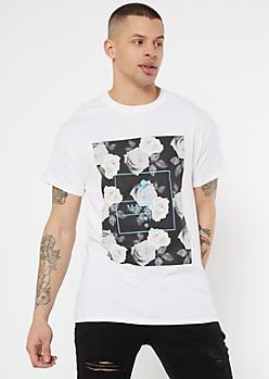 White MMXIX Rose Kanji Graphic Tee