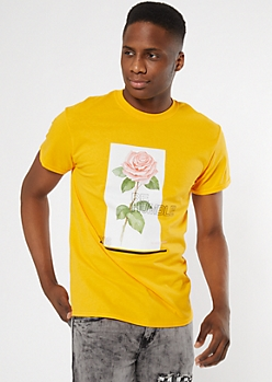 Yellow Be Humble Rose Graphic Tee