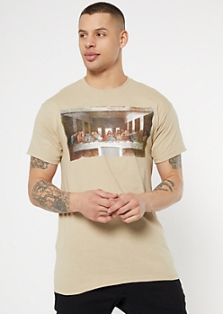 Tan The Last Supper Painting Graphic Tee