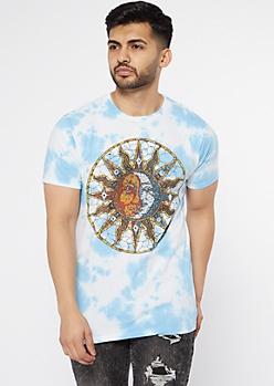 Blue Tie Dye Celestial Sun Moon Graphic Tee
