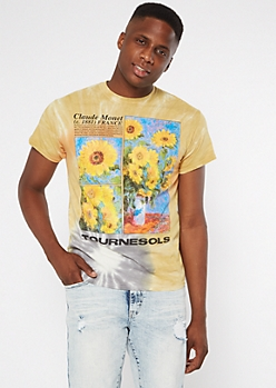 Orange Tie Dye Monet Tournesols Graphic Tee