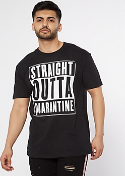 Straight Outta Quarantine Black Graphic Tee