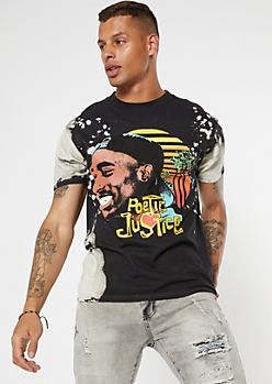 Black Bleached Wash Poetic Justice Graphic Tee