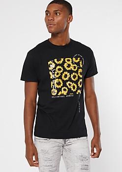 Black Kanji Sunflower Short Sleeve Graphic Tee