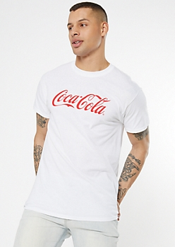 White Retro Coca Cola Graphic Tee