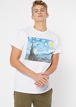 White Van Gogh Starry Night Graphic Tee