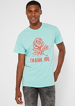 Mint Thank You Rose Graphic Tee