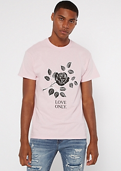 Pink Love Only Rose Graphic Tee
