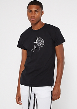 Black Long Live Rose Graphic Tee
