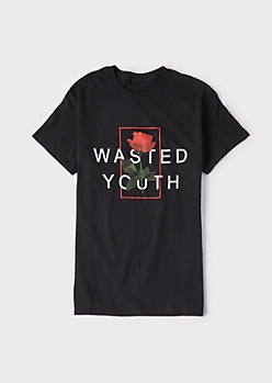 Black Wasted Youth Graphic Tee