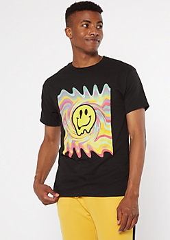 Black Dripping Smiley Swirl Graphic Tee