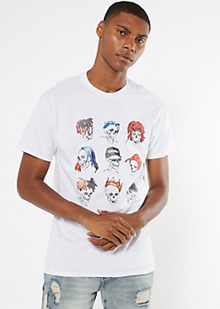 White Skull Print Graphic Tee