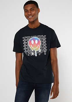 Black Trippy Drippy Smiley Graphic Tee