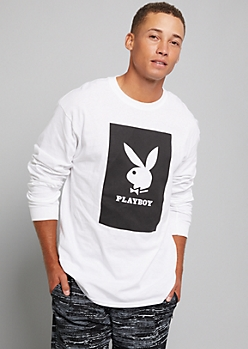 White Playboy Bunny Long Sleeve Graphic Tee
