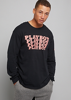 Black Playboy Long Sleeve Graphic Tee