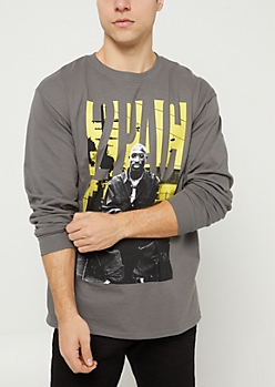 Gray Tupac Yellow Streets Long Sleeve Tee