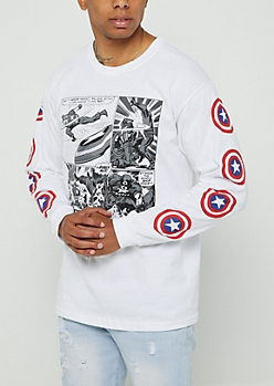 White Captain America Comic Strip Tee