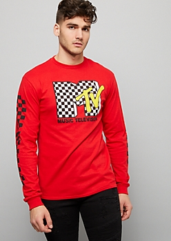 Red Checkered Print MTV Graphic Tee