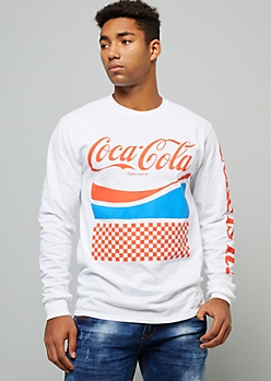 White Checkered Print Coca Cola Graphic Tee