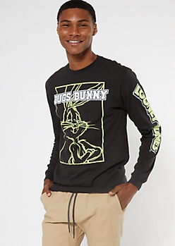 Black Bugs Bunny Long Sleeve Graphic Tee