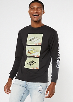 Black SpongeBob Nope Meme Long Sleeve Graphic Tee