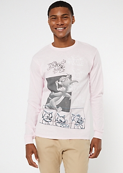 Pink Tom And Jerry Long Sleeve Graphic Tee