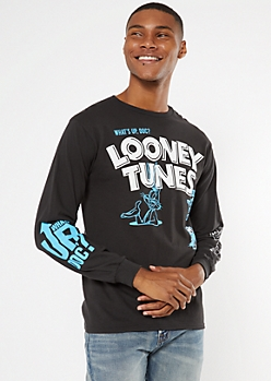 Black Looney Tunes Long Sleeve Graphic Tee