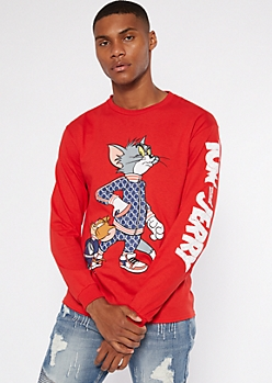 Red Tom And Jerry Long Sleeve Graphic Tee