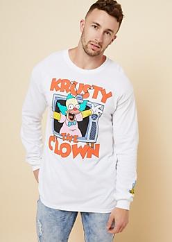 White Krusty The Clown Long Sleeve Tee