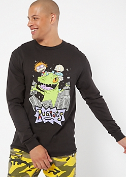 Black Rugrats Reptar Long Sleeve Graphic Tee