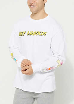 Hey Arnold! Characters White Long Sleeve Tee