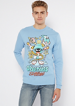 Blue Greetings Earthlings Marvin Long Sleeve Tee