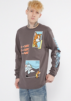 Charcoal Tom And Jerry Long Sleeve Graphic Tee