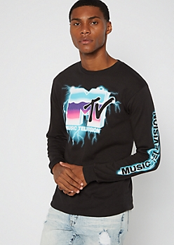 Black Lightning MTV Long Sleeve Graphic Tee