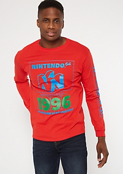 Red Nintendo 64 Graphic Tee