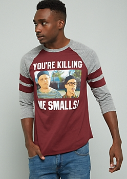 Burgundy Killing Me Smalls Varsity Striped Graphic Baseball Tee