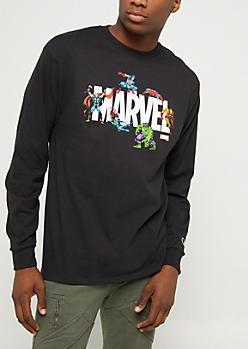 Marvel Characters Champion Black Long Sleeve Tee