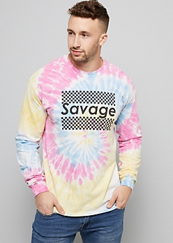 Pastel Tie Dye Checkered Print Savage Graphic Tee