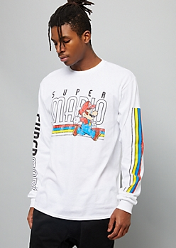 White Super Mario Side Striped Graphic Tee
