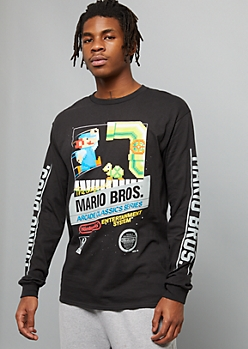 Black Mario Bros Arcade Side Striped Graphic Tee
