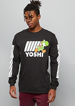Black Yoshi Diagonal Side Striped Graphic Tee