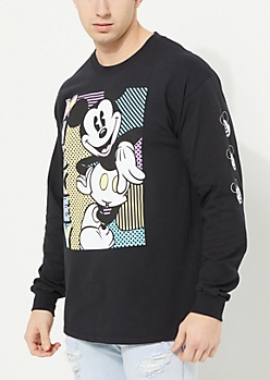 Black Mickey Mouse Printed Long Sleeve Tee