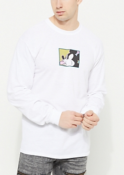 White Spitting Mickey Mouse Long Sleeve Tee