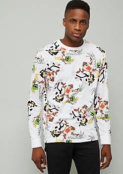 White Looney Tunes Crew Print Long Sleeve Tee