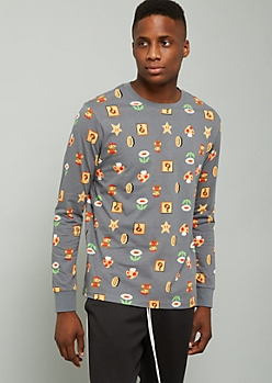 Gray Super Mario Bros Print Long Sleeve Tee